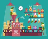 Elfen machen Weihnachten und Neujahrsgeschenke Lizenzfreie Stockfotografie
