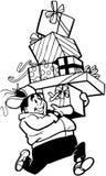Elfen mit Geschenkkarikatur Vektor Clipart Lizenzfreie Stockfotos