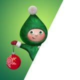 Elfen-Spielzeugcharakter des Weihnachten 3d, der Ball hält Stockbild