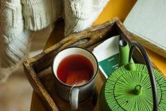 Elfenbeinfarbene gestrickte Strickjacke, die über Holzstuhl, Becher mit rotem Fruchttee, Topf im Behälter durch Fenster, Herbst d Stockfotos