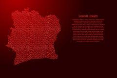 Elfenbeinküste-Kartenzusammenfassungsdiagramm von den roten und null binar lizenzfreie abbildung