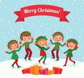 Elfes de Joyeux Noël Photos libres de droits