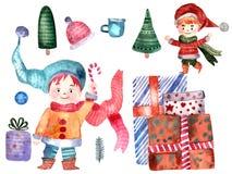 Elfes de Noël d'isolement sur le fond blanc illustration de vecteur