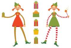 Elfes mignons de Noël Image stock