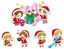 Elfes mignons de Noël dans la collection de style de bande dessinée réglée (vecteur) Images libres de droits