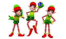 Elfi con il piccolo contenitore di regalo Immagine Stock
