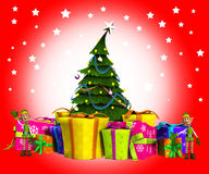 Elfi con l'albero di Natale e la neve Fotografia Stock