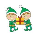 Elfi di Natale che tengono il contenitore di regalo Caratteri di natale Fotografia Stock Libera da Diritti