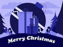 Elfi di Natale con la palla enorme ed i grandi regali Fotografia Stock