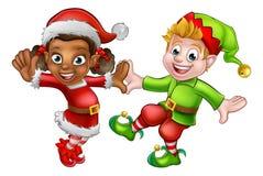 Elfi di Natale di dancing Immagini Stock Libere da Diritti