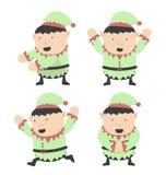 Elfi di Natale grassi e pose differenti Immagini Stock Libere da Diritti
