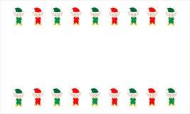 Elfi rossi e verdi illustrati di Natale su bianco Fotografia Stock Libera da Diritti