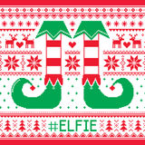 Elfie, Elfie Christmas seamless pattern, ugly jumper decoration with elf legs Stock Image