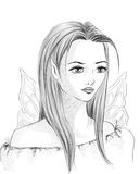 Elfie girl. Pencil sketch of a female elf done in comics style Stock Photos