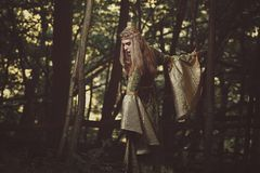 Elfin lady walking in the forest royalty free stock photography