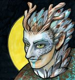 The elfin shaman in a silver mask. With a horns royalty free illustration
