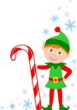 Elfo con la canna di caramella Fotografia Stock Libera da Diritti