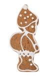Elfo del pan di zenzero di Natale isolato su un fondo bianco Fotografia Stock