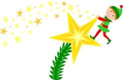 Elfo della stella dell'albero di Natale Immagine Stock