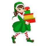 Elfo di natale con i regali Illustrazione Vettoriale