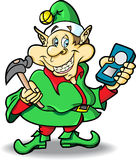Elfo di natale con il giocatore MP3 ed il martello illustrazione di stock