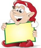 Elfo di natale felice con il segno Fotografie Stock Libere da Diritti