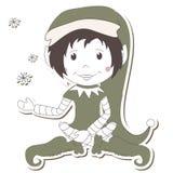 Elfo di natale su priorità bassa bianca Fotografie Stock