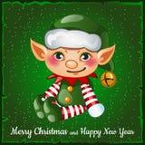 Elfo di Natale sveglio e felice Fotografia Stock
