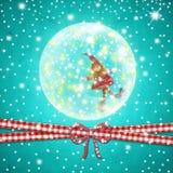 Elfo di Santa della cartolina d'auguri di tempo di Natale Immagine Stock Libera da Diritti