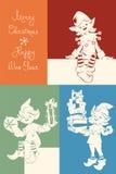 Elfo di Santa sulla cartolina di Natale, bunner, segnante Immagini Stock Libere da Diritti