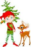 Elfo e Rudolf Fotografia Stock Libera da Diritti