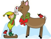 Elfo e Rudolf Immagini Stock