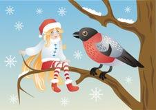 Elfo e un uccello Immagini Stock