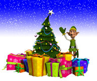 Elfo ed albero di Natale con neve Immagini Stock Libere da Diritti