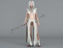 Elfo femminile Mage con gli occhi azzurri Fotografia Stock