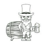 Elfo irlandese con la tazza ed il barilotto della birra illustrazione vettoriale