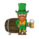 Elfo irlandese con la tazza ed il barilotto della birra royalty illustrazione gratis