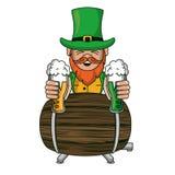 Elfo irlandese con le tazze ed il barilotto della birra illustrazione vettoriale