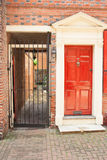 Elfreth's Alley. A door and courtyard in Elfreth's Alley, in the old city of Philadelphia, Pennsylvania, USA royalty free stock images