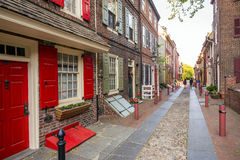 Elfreth's Alley. The historic Old City in Philadelphia, Pennsylvania. Elfreth's Alley, referred to as the nation's oldest residential street, dating to 1702 Royalty Free Stock Photo