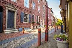 Elfreth's Alley. The historic Old City in Philadelphia, Pennsylvania. Elfreth's Alley, referred to as the nation's oldest residential street, dating to 1702 Royalty Free Stock Photos