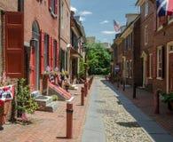 Elfreth\'s Alley in Philadelphia stock photos