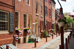 Elfreth's Alley. This is a view of Elfreth's Alley, in the old city area of Philadelphia, Pennsylvania, USA. The Alley is an original street from colonial years royalty free stock photography