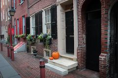 Elfreth`s Alley view in Philadelphia, USA royalty free stock photography