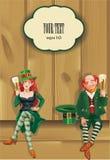 Elfs som dricker öl, Sts Patrick dagbakgrund royaltyfri illustrationer