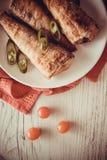 Elft met tomaat en Spaanse pepers Royalty-vrije Stock Foto
