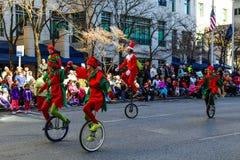 Elfy na Unicycles zdjęcia royalty free