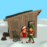 elfy wsobny s Santa Obraz Stock