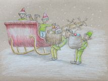 Elfy z prezentami Zdjęcie Royalty Free