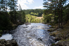 Elgaafossen (Elga Waterfall) View before drop. Elgåfossen Østfold's highest unregulated waterfall with a drop of 46 meters. The farthest south in Østfold Stock Photography